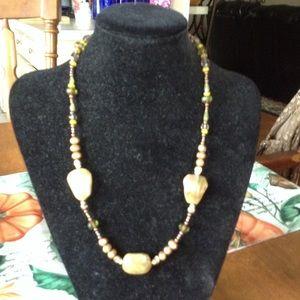 Jewelry - Green Stone & Brass,glass & Copper Bead Necklace